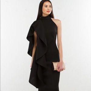Black Midi Dress with Ruffle Sleeve